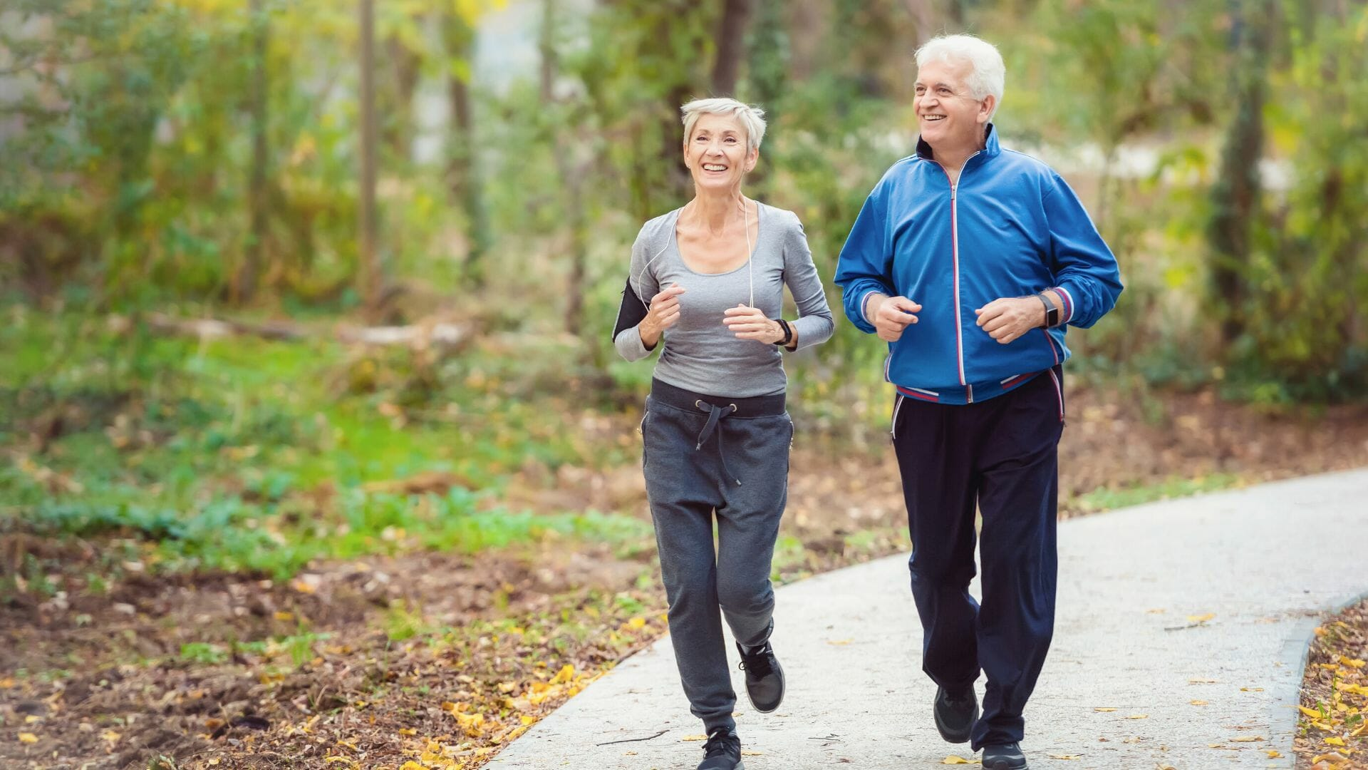 Elderly couple working out