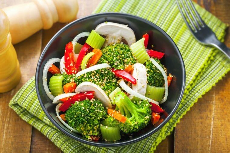 Bowl of broccoli, onion, pepper mushroom,