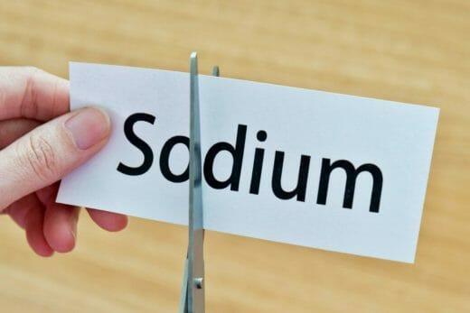 sodium word in paper cut in half